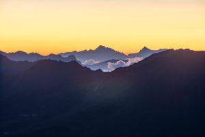 Österreich, Tirol, Ötztal, Obergurgl, Sonnenaufgang in den Ötztaler Alpen