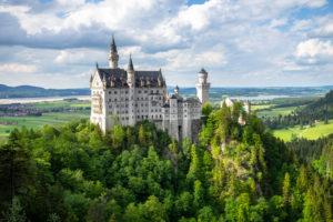 Germany, Bavaria, Allgäu, Füssen, Neuschwanstein Castle in spring