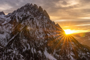 Europe, Austria, Tyrol, East Tyrol, Lienz, sunset in the Lienzer Dolomites