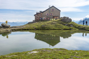 Europe, Austria, Tyrol, East Tyrol, Kals am Großglockner, mountaineers next to the Sudeten German hut in the Hohe Tauern