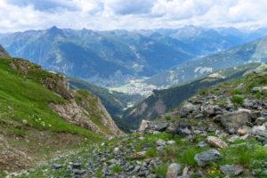Europe, Austria, Tyrol, East Tyrol, Kals am Großglockner, view from the Sudetendeutsche Höhenweg towards Matrei in East Tyrol