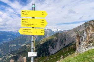Europe, Austria, Tyrol, East Tyrol, Kals am Großglockner, signpost on the Kalser Höhe