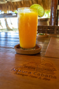America, Caribbean, Greater Antilles, Dominican Republic, Cabarete, passion fruit juice in the restaurant of the Natura Cabana Boutique Hotel & Spa