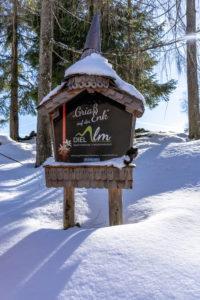Europa, Österreich, Berchtesgadener Alpen, Salzburg, Werfen, Ostpreussenhütte, Eingeschneites Schild der Dielalm bei Werfen
