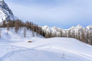 Europa, Österreich, Berchtesgadener Alpen, Salzburg, Werfen, Ostpreussenhütte, Blühnteckalm in der verschneiten Winterlandschaft