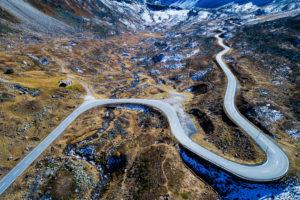 Aerial shots Flüela Pass, canton of Graubünden, Landwassertal, Switzerland