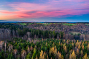 Aerial view, sunset in the Swabian forest, Rems-Murr-Kreis, Baden Württemberg, Germany