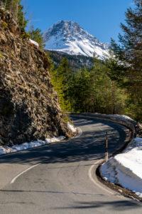 Norbertshöhe pass road, view of Großer Mutzkopf, Nauders, Vinschgau, Tyrol, Austria