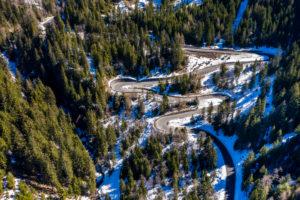 Aerial view, Ochsengarten, Kühtai pass road, Stubai Alps, Tyrol, Austria
