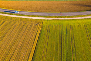 Aerial view street, arable land in autumn, Rems-Murr-Kreis, Baden Württemberg, Germany