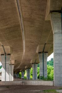 Car bridge over Schornbachtal, Remstal, Baden-Württemberg, Germany