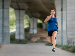 Woman, 24 years old, running under a bridge, Remstal, Baden-Württemberg, Germany