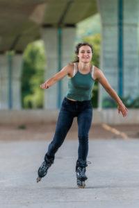 Woman, 24 years, inline skating under bridge, Remstal, Baden-Württemberg, Germany