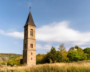 Church tower at Falkenstein, Palatinate Forest, Rhineland Palatinate, Germany
