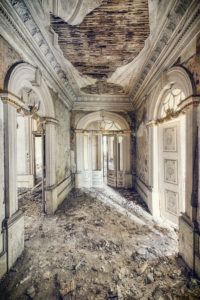 decayed hall in a castle