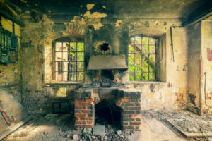 former forging furnace in a deserted factory