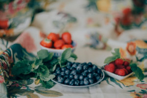 Berries on tablecloth