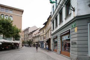 Street with shops in Ljubljana, Slovenia