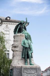 Statue at Preseren square in Ljubljana, Slovenia