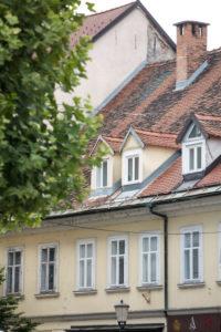 Windows & roof in downtown Ljubljana