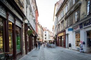 Shopping street in Ljubljana, Slovenia