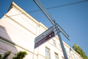 Signpost to the castle in Ljubljana, Slovenia