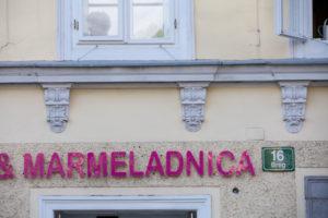 Shop sign in Ljubljana's city center