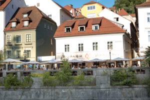 Restaurant on the Ljubljanica in Ljubljana, Slovenia