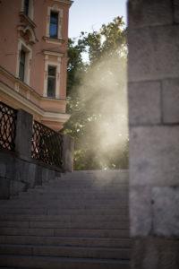 Steam over a staircase in Ljubljana's city center