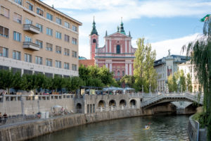 View of the Annunciation Church in Ljubljana, Slovenia