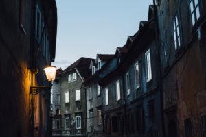 Alley in Ljubljana in the blue hour