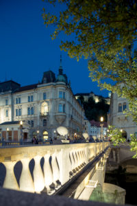 Three bridges at blue hour, Ljubljana, Slovenia