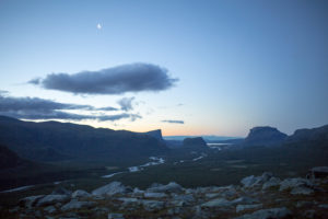 night view over the Rapadalen from the camp, Sarek National Park, Sweden