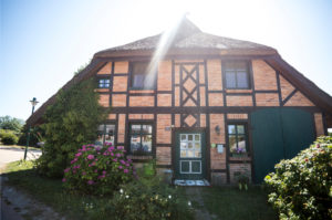 Germany, Rügen, brick house with timber-frame