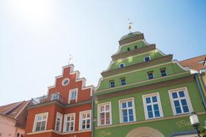 Deutschland, Mecklenburg-Vorpommern, Greifswald: Häuser in der Innenstadt
