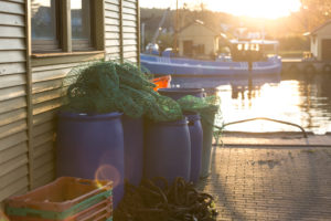 Nets and fish boxes in the port of Freest, Mecklenburg-West Pomerania, Germany