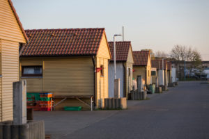 Fishing huts in the port of Freest, Mecklenburg-West Pomerania, Germany