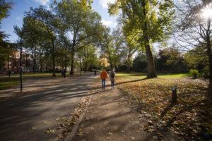 Spaziergänger in einem Park, Groningen, Niederlande