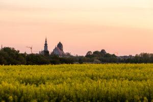 Blickauf Greifswald im Sonnenuntergang