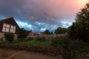Thunderstorm over garden