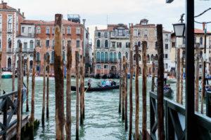Old houses with gondolas, Venice, Italy
