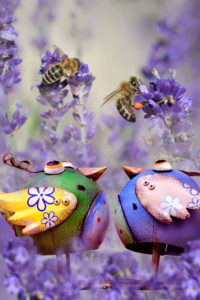 Garden Still Life with metal birds and bees on lavender