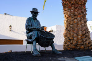 Monument to basket weaver Eulogio Concepcion Perdomo, village Haria, Lanzarote, Canary Islands, Spain