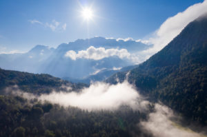 Fog at Ferchensee, Karwendel Mountains behind, near Mittenwald, aerial view, Werdenfelser Land, Upper Bavaria, Bavaria, Germany