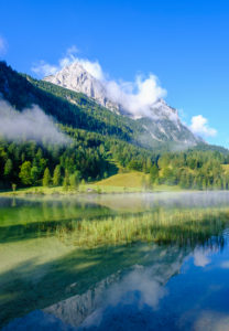 Ferchensee and Wettersteinspitze, near Mittenwald, Werdenfelser Land, Wetterstein Mountains, Upper Bavaria, Bavaria, Germany
