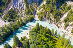 Isar on the Isarhorn near Mittenwald, Werdenfelser Land, aerial view, Upper Bavaria, Bavaria, Germany