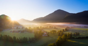 Sunrise with ground fog, Jachenau, Isarwinkel, aerial view, Upper Bavaria, Bavaria, Germany