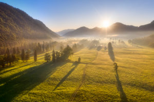 Morning mood in Jachenau, Isarwinkel, aerial view, Upper Bavaria, Bavaria, Germany