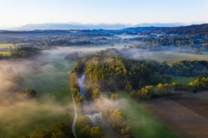 Loisach in the morning mist, near Achmühle near Eurasburg, Tölzer Land, aerial view, Alpine foothills, Upper Bavaria, Bavaria, Germany
