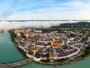 Old town in river loop from the Inn at sunrise, Wasserburg am Inn, aerial view, Upper Bavaria, Bavaria, Germany